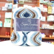 Chăn lông cao cấp siêu nhẹ Super Luxurious Plush Throw - Nhật Bản (trắng xanh)
