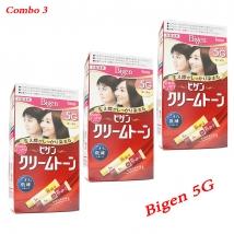 Combo 3 hộp thuốc nhuộm tóc Bigen 5G nội địa Nhật Bản