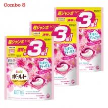 Combo 3 túi viên giặt & xả Bold (46 viên x 3) màu hồng