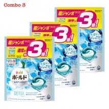 Combo 3 túi viên giặt & xả Bold (46 viên x 3) màu xanh